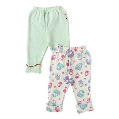 Mint Cream & Owl Printed Girls Leggings With Frills - Set Of 2 - BEN BENNY