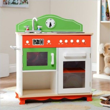 My Little Chef Wooden Play Kitchen Set With Electrical Stove - Teamson Kids