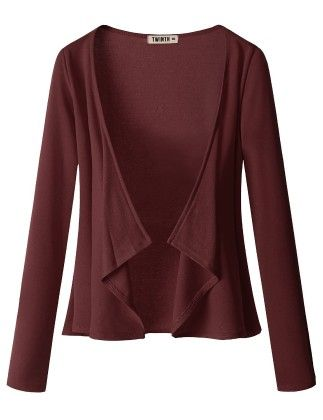 Draping Long Sleeve Jersey Open Cardigan Burgandy - Doublju