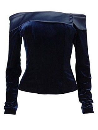 Satin Trim Velvet Corset Blouse-navy - Alex Evenings