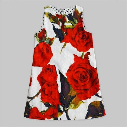 White A-line Tunic Dress With Red Floral Print - Freda & Pixie