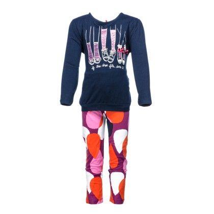 Pepito Girls Tunic Set - Navy & Pink