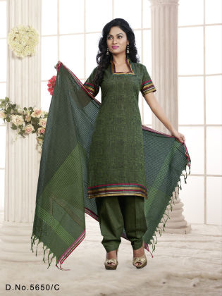 Touch Trends Green Pure Cotton Dress Material - Touch Trends Ethnic