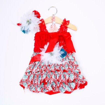 Red And White Ruffled Dress With Headband And Waist Blet - Little Dress Up