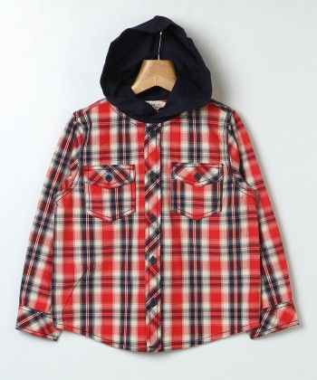 Y/d Check Shirt With Hood Red Check - Beebay