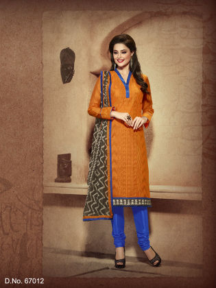 Touch Trends Orange Chanderi Silk Dress Material - Touch Trends Ethnic