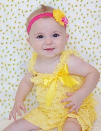 Baby Lace Petti Rompers Yellow - Cutie Baby Boutique