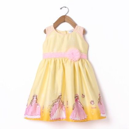 Dress Sleeve Less Princess Print With Lace - Yellow - Doodle