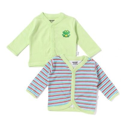 Baby Cotton Vest Pack Of 2 - Lt Green Multi Stripes - Mee Mee