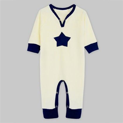 Ivory Velour Long Sleeve Jumpsuit With Navy Star Applique - A.T.U.N
