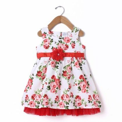 Dress Sleeve Less White All Over Rose Print With Flower & Net - Coral - Doodle