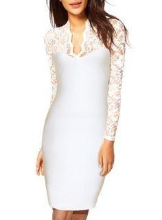 Floral Lace Long Sleeves Bridesmaid Midi Dress-white - Miusol
