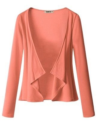 Draping Long Sleeve Jersey Open Cardigan Coral - Doublju