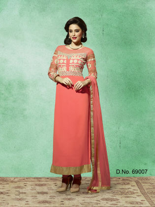 Touch Trends Peach Georgette Dress Material - Touch Trends Ethnic