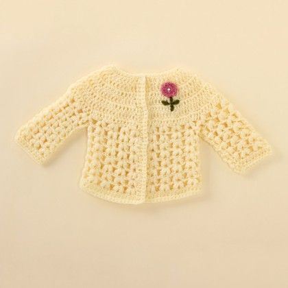 Off-white Cardigan With Pink Flowers - Knitting Nani