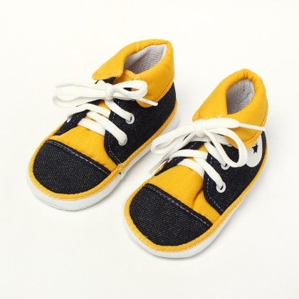 All Star Baby Sneakers - Black With Yellow - Baby Shoes