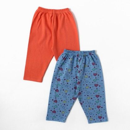Solid Orange & Pastel Blue,small Clouds Printed Boy Pants - Pack Of 2 - BEN BENNY