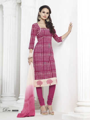 Touch Trends Magenta Chanderi  Silk Dress Material - Touch Trends Ethnic
