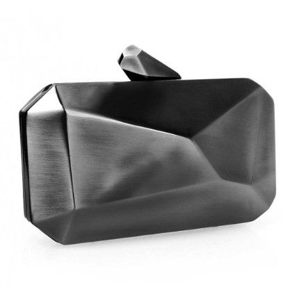 alloy Metal Abstract Stone Cut Hardcase Fashion Clutch Chain Handbag Gun Metal Grey - B.m.c