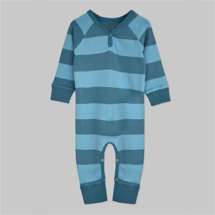 Blue Striped Long Sleeve Jumpsuit - A.T.U.N