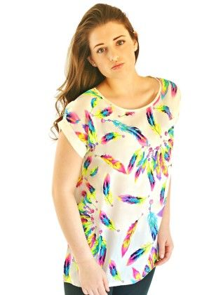 Multicolor Feather Print Top-ivory - Xcel Couture