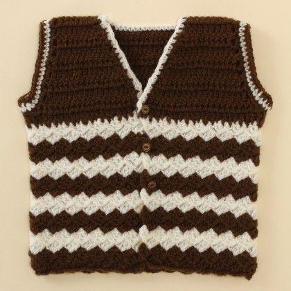 Brown & Off White Vest - Knitting Nani