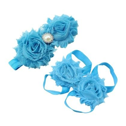 Babygirl Hair Accessory And Shoe Set Light Blue - PinkXenia