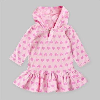 Pink Hearts Printed Long Sleeve Hooded Peplum Top - A.T.U.N