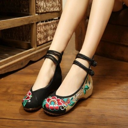 Black Strap Floral Print Belies - Touch-up