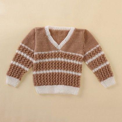 Light Brown And White V-neck Sweater - Knitting Nani