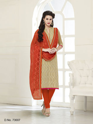 Touch Trends Gold Chanderi Silk Dress Material - Touch Trends Ethnic