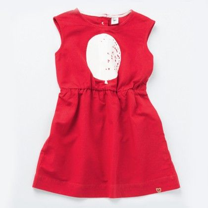 Girl's Flying Balloon Dress Red - Milk Teeth