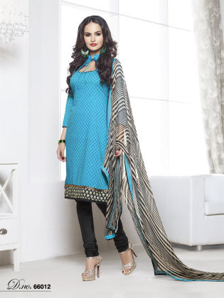 Touch Trends Sky Blue Chanderi Cotton Dress Material - Touch Trends Ethnic
