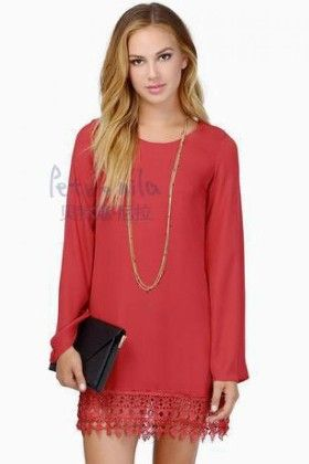 Casual Lace Long Sleeve Chiffon Shift Perty Dress Red - Lingswallow
