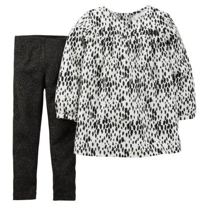 2-piece Flannel Top & Legging Set - Black And White - Carter's