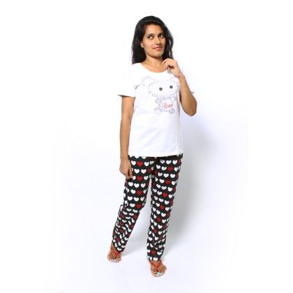 White Bunny Print Top With Full Pyjama Set - Sheer Love