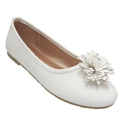 Belly Shoes Floral Applique - White - Yokids