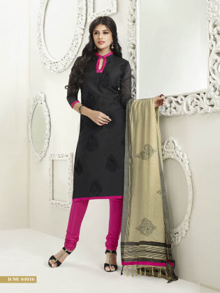 Touch Trends Black Chanderi Silk Dress Material - Touch Trends Ethnic - 164982