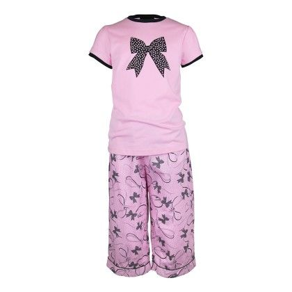 Girls Bows Print Top And Pant - Candy Pink