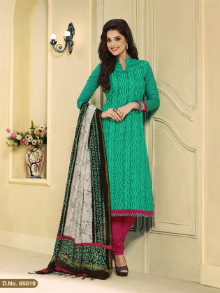 Touch Trends Green Chanderi  Silk Dress Material - Touch Trends Ethnic
