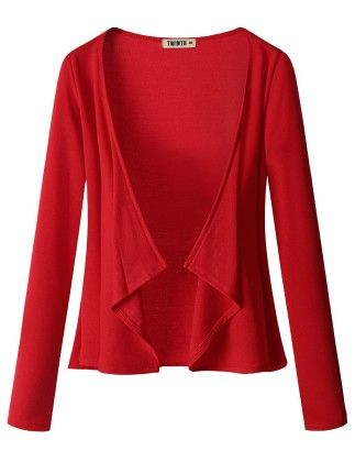 Draping Long Sleeve Jersey Open Cardigan Red - Doublju