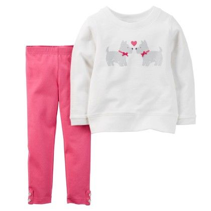 2-piece Pullover & Legging Set - Pink And White - Carter's