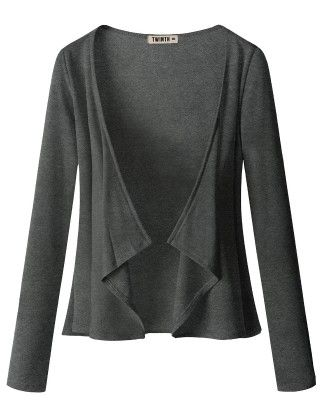 Draping Long Sleeve Jersey Open Cardigan Charcoal - Doublju