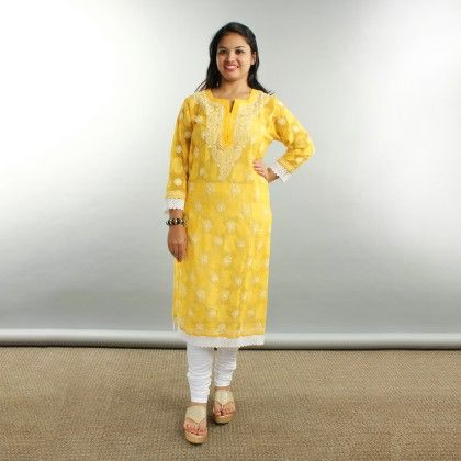 Long Kurti - Yellow/white - Bab's Creations