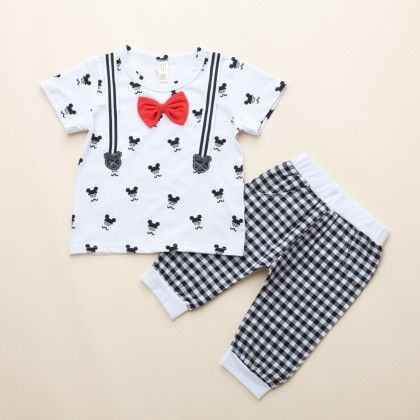 Boys T-shirt With Bow And Shorts- White - Dapper Dudes