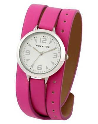 Vernier Women's Round Silver Tone Case On Pink Triple Wrap Strap Watch - Vernier Watches