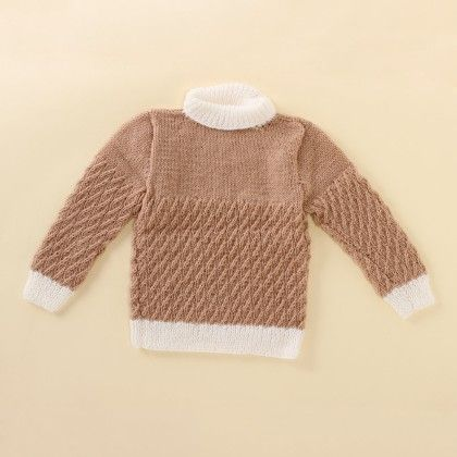 Light Brown And White Polo Neck - Knitting Nani