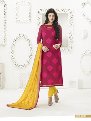 Touch Trends Maroon Chanderi Silk Dress Material - Touch Trends Ethnic