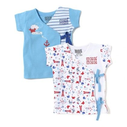 Baby Cotton Vest Pack Of 2 - Blue And  White - Mee Mee