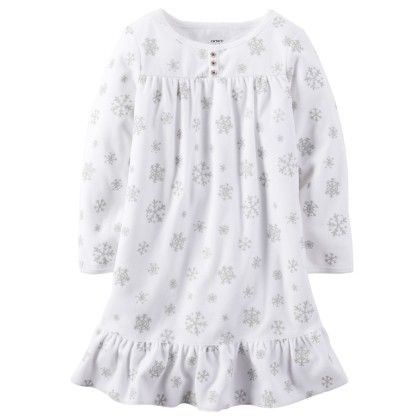 Ruffle Hem Fleece Sleep Shirt - Snow - Carter's